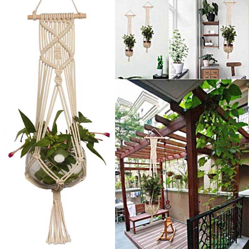 Diy Countyard Jardim Corda Pendurada Para Planta Flor Pote Hot Vendas Handmade Macrame Corda Cesta Para A Decoração Da Parede