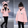 Lovely Rabbit Hooded Ears Baby Girl Clothes Woolen Girls Coat Outerwear Knitwear Winter Infant Kids Clothing Best Gift
