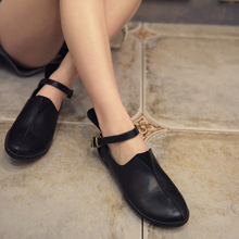 Designer Spring Womens Black Flats Sale Genuine Leather Girls Mary Janes  Fashion Handmade Women's Ankle Strap Shoes Soft Bottom