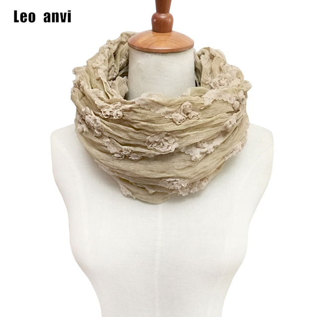 Brodé Fleurs infinity anneau tube écharpe foulard femme femmes soie écharpe  beige rétro designer écharpe marque 265483d5020