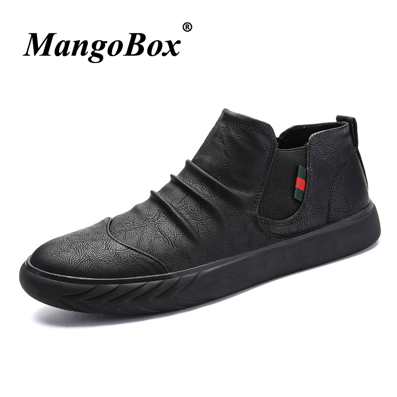 Luxury Brand Fashion Male Casual Shoes Black Gray Walking Shoes For Casual Designer Mens Sneakers Slip-on Mens Pu Leather Shoes