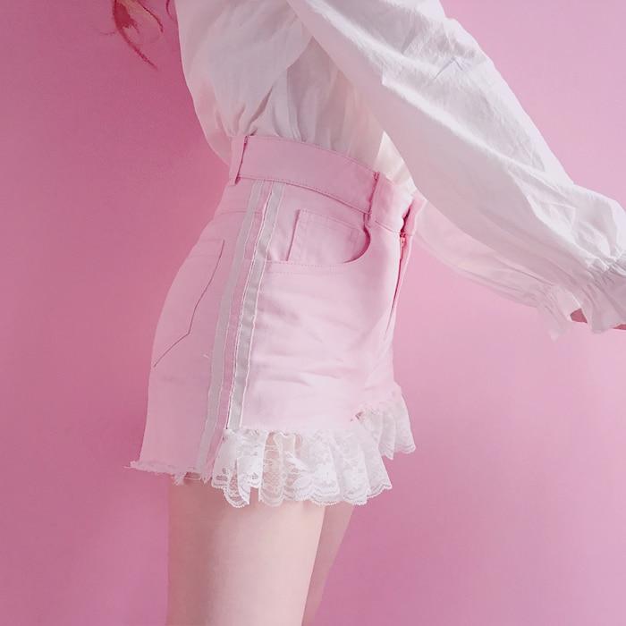 Princess sweet lolita   shorts   Bobon21 Sweetheart sanding lace side   short   stripe Denim   Shorts   White Blue powder women B1597