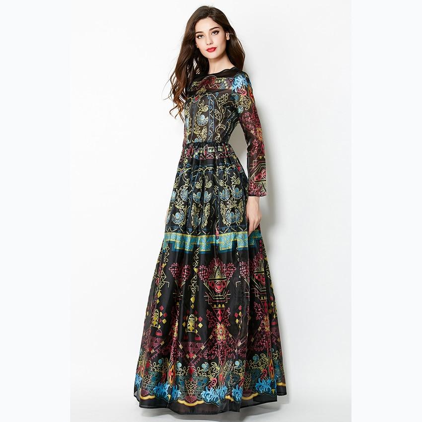 Long Sleeve Maxi Dress Patterns for Women