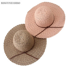 HANGYUNXUANHAO Summer Hats for Women Fashion Design Women Beach Sun Hat Foldable Brimmed Straw Hat multi brimmed sinamay hat