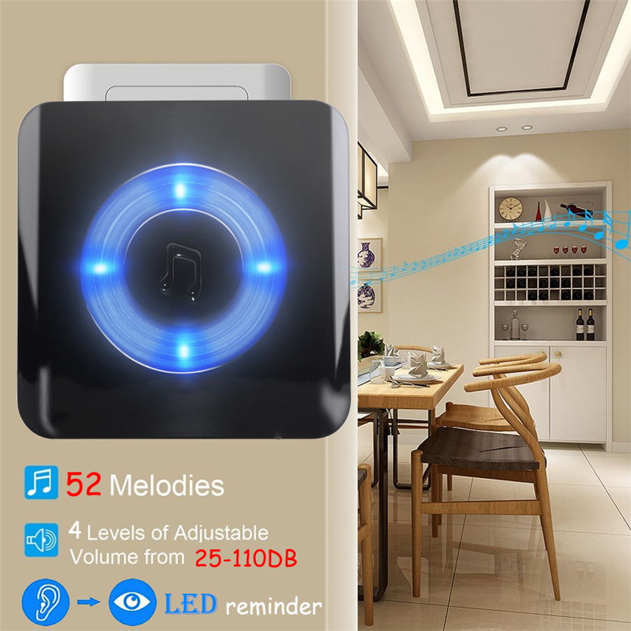 YIFAN Waterproof LED light Wireless Door bell EU Plug 300M long range home DoorBell Chime ring 2 battery button 3 receiver Deaf