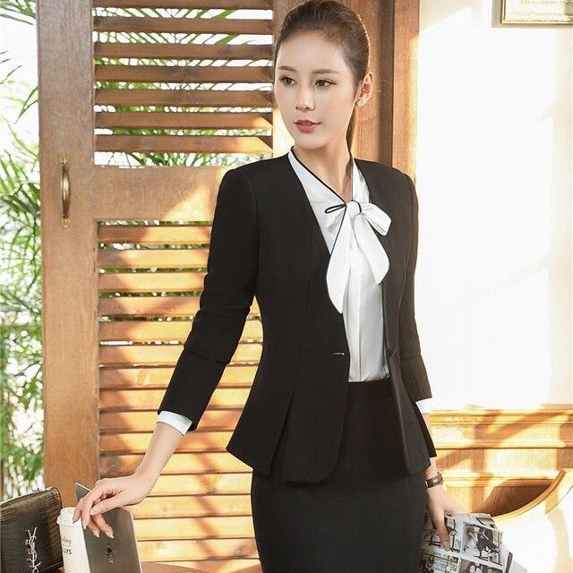 786ba4c216356 Plus la Taille Élégant Noir Automne Hiver Formelle OL Styles Blazers  Costumes Avec Vestes Et Jupe