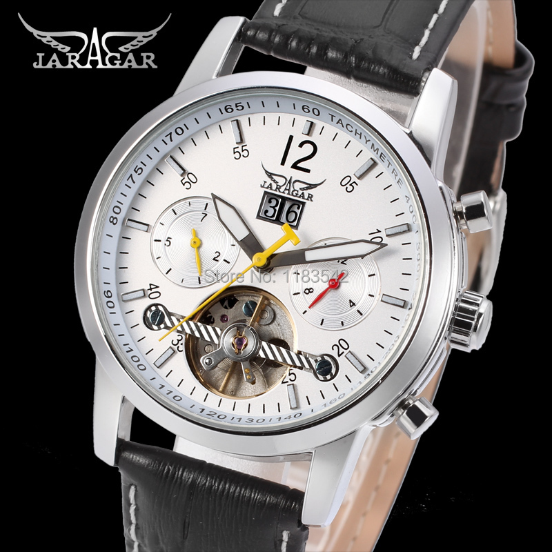 Jargar new Automatic men  watch with black leather band metal  shipping  free JAG154M3S1 jargar automatic fashion dress watch silver color with black leather band free shipping jag6458m3s2