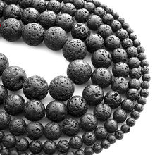 4-12mm Natural Black Volcano Lava Rock Stone Gemstone Round Loose Beads For Bracelet Necklace Earrings Jewelry Making HK019(China)