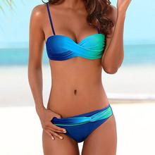 Seksowne Bikini 2020 kobiety Push Up strój kąpielowy Biquini seksowne brazylijskie Bikini seksowne Bikini zestaw stroje kąpielowe Bandeau kobiet strój kąpielowy strój kąpielowy #4 tanie tanio Poliester CN (pochodzenie) WOMEN Two-Piece Suits Pasuje prawda na wymiar weź swój normalny rozmiar Drukuj Faceshield