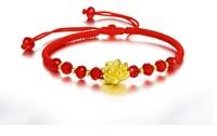 Authentique 24 K Jaune Bracelet En Or Rouge Cristal 3D Lotus Bracelet Chaîne armure