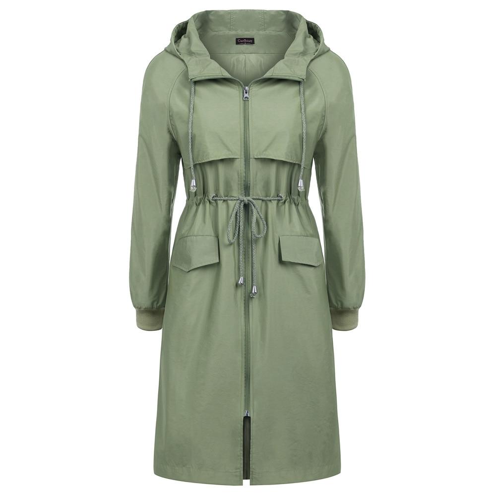 outwear Women's coat Outdoor Long Sleeve Hooded pockets solid jacket ladies spring fall long tops Water repellent Rain Coat
