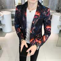 fire Print Prom Suit Jacket Mens 2018 Autumn Slim Fit Blazer Mascculino One Button Blazer Gold Blue Red Print Blazer Male