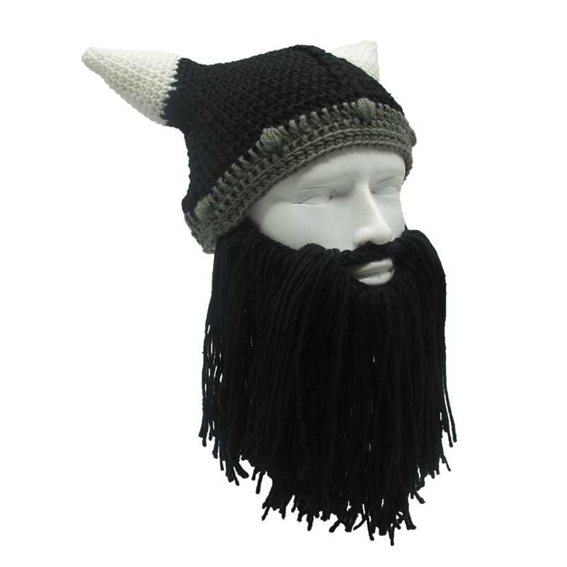0874beb0 Mr.Kooky Barbarian Viking Beanie Beard Horn Hat Handmade Knit Winter Warm  Cap Men Women Birthday Cool Funny Gag Party Xmas Gifts