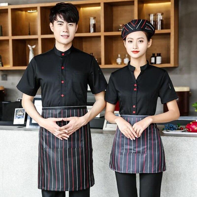 Restaurant Short Sleeves Uniform Hotel Women Waitress Work Clothes Fast Food Shop Dining Catering Waiter Overalls Jacket H2253