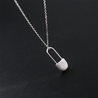 925 Sterling Silver Zircon Necklace Dancing party For women Anniversary gift Necklace Pin Pendants Jewelry Accessories N 161