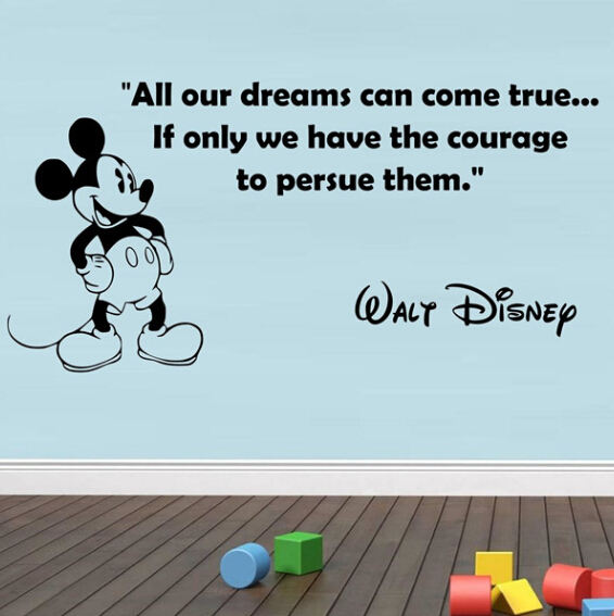 Personalized Mickey Mouse wall stickers, inspiration vinyl wall Quotes for  home decor