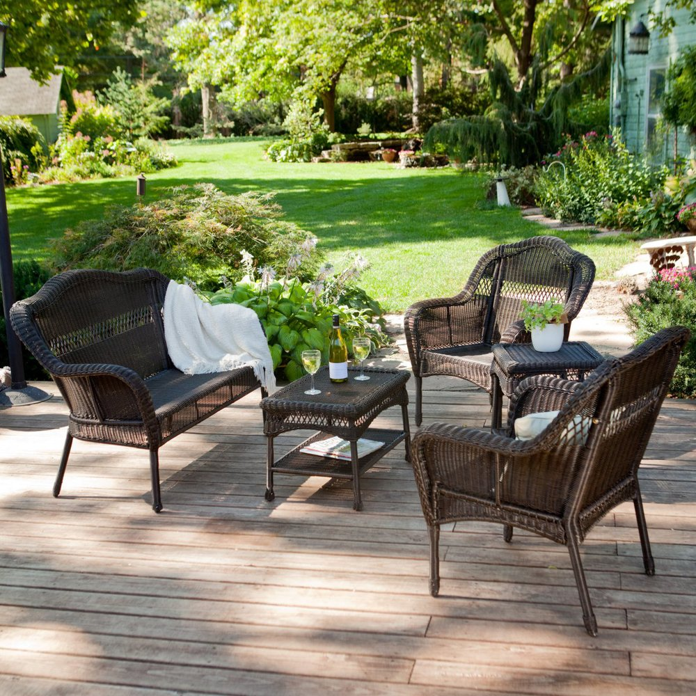 Outdoor Patio Furniture Resin Wicker Conversation Set In Garden