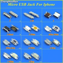 цена на ChengHaoRan DC Power Jack for iPhone 4 4G 4S 5 5G 6 6Plus 6S 7 7G 7P 8 8P X Charging Port Female Socket Micro USB Connector Plug
