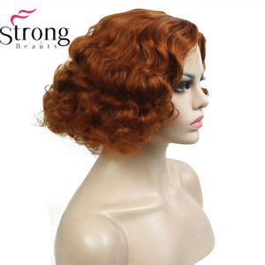 Image 1 - StrongBeauty Copper/Blond Flapper Hairstyle Short Curly Hair Womens Synthetic Capless Wigs