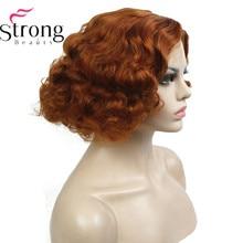 StrongBeauty 銅/ブロンドフラッパー髪型ショートカーリー女性の合成キャップレスかつら