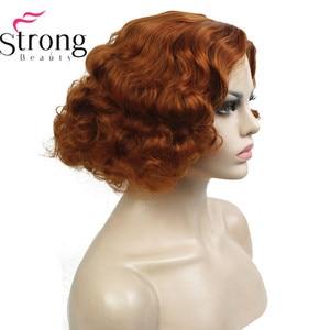 Image 1 - StrongBeauty 銅/ブロンドフラッパー髪型ショートカーリー女性の合成キャップレスかつら