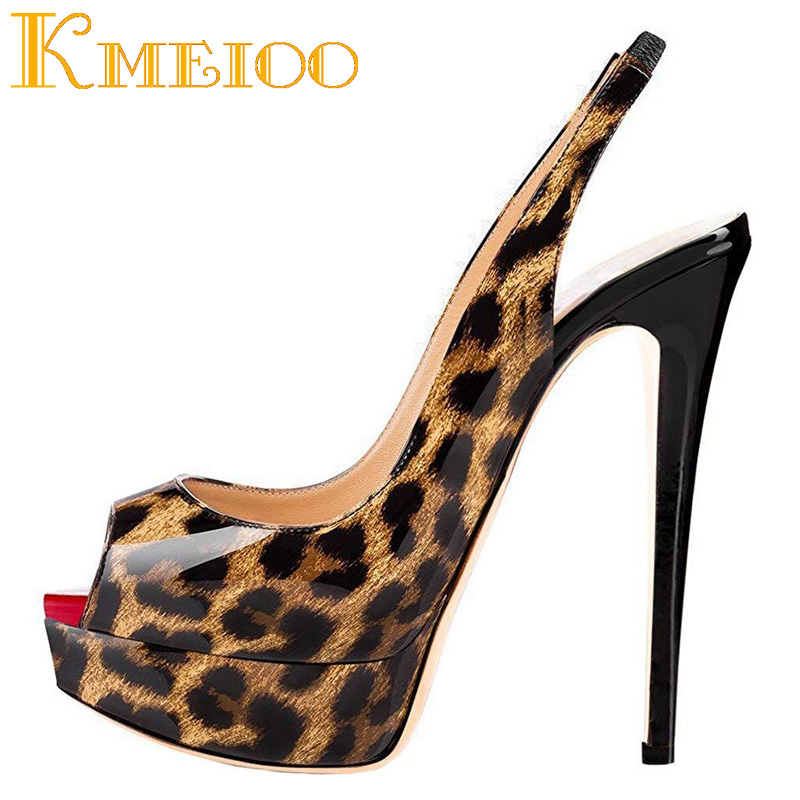 Kmeioo Women Shoes Platform Slingback Pumps Sexy Leopard High Heels Peep Toe Slip On Stiletto Evening Party Wedding Shoes цена 2017