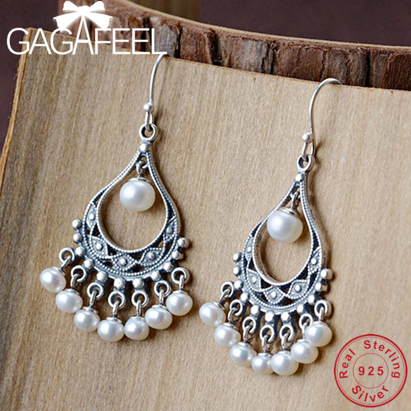 GAGAFEEL Pure 925 Sterling Silver Pearl Drop Earrings for Women Dropship Fashion Jewelry Top QualityGAGAFEEL Pure 925 Sterling Silver Pearl Drop Earrings for Women Dropship Fashion Jewelry Top Quality