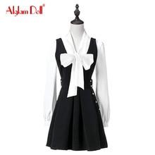 Alglam Doll Women 2 Pieces Set Vintage Casual Full Sleeve Ladies Blouse Top Shirt + Straps Cute Pleated Mini Skirt 2017 Dress