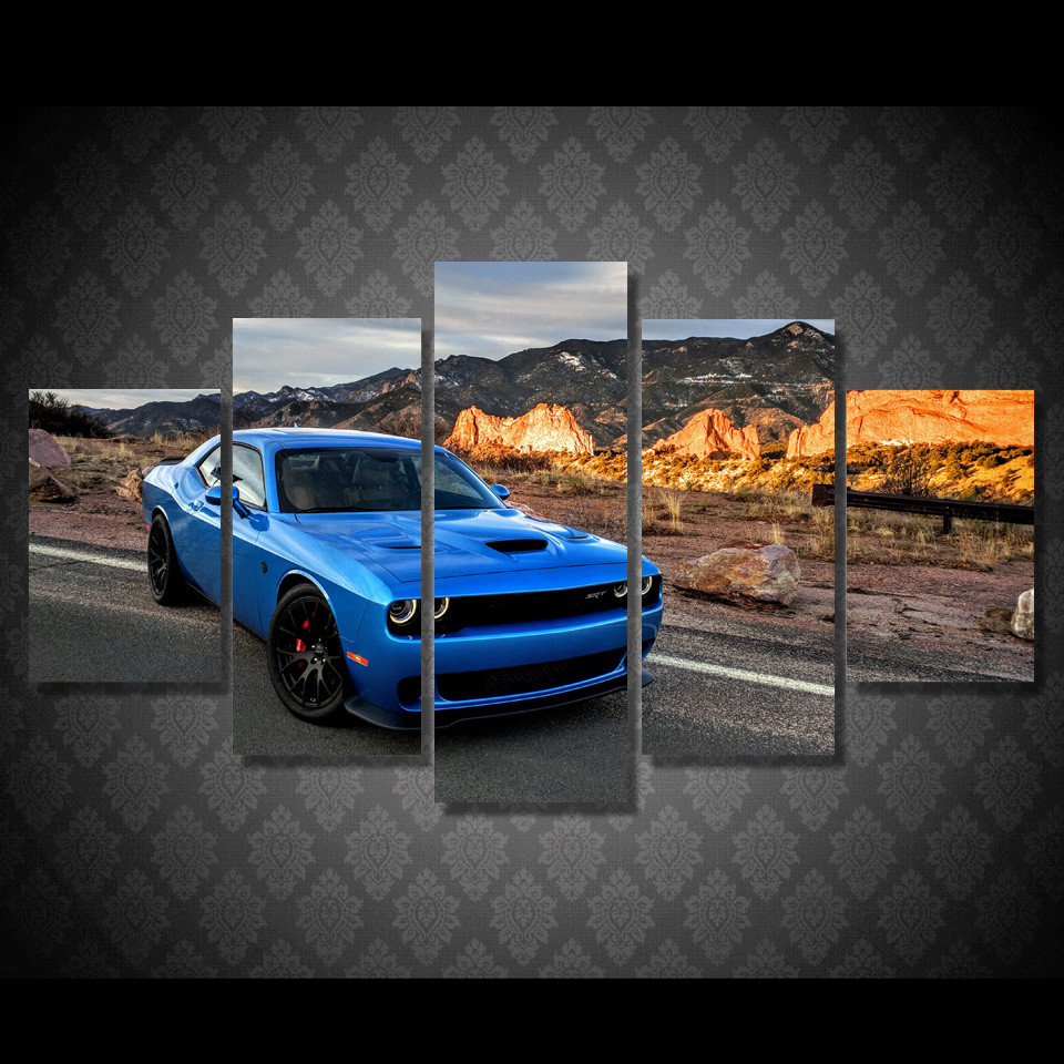 5 pcsset framed hd printed blue car on road pictures picture wall art canvas