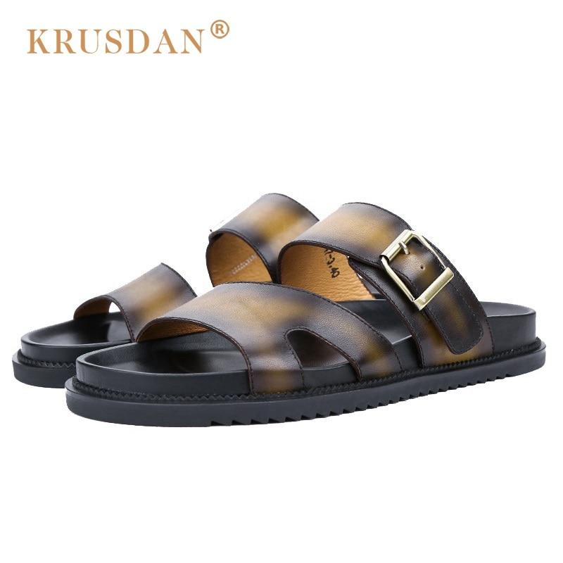 ФОТО KRUSDAN 2017 Summer Style Man Casual Flat Heels Shoes Genuine Leather Male Retro Beach Slipper Fashion Men's Roman Sandals NK17