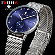 Fotina Casual Brand WWOOR Watch Men Date Analog Quartz Waterproof Sport Watches Male Stainless Steel Strap