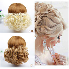 HidolA Chignon Clip Short Curly Synthetic Blonde Burg Big Bun Hair Extension With Two Combs in Hairpiece
