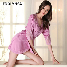 2017 Bathrobe Women Bridesmaid Robes Soft Sexy Short Kimono Robe Home Dressing Gown Half Sleeve Pink Silk Wedding Robes #P112(China)