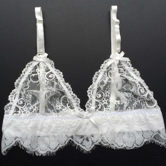 Lace Bra Briefs Set Black Sheer Bralette  Mesh Panties
