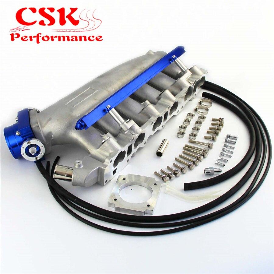 Intake Manifold +Fuel Rail & 80mm VQ35TPS Throttle Body For NISSAN Skyline R32 R33 RB25 RB25DET GTS T