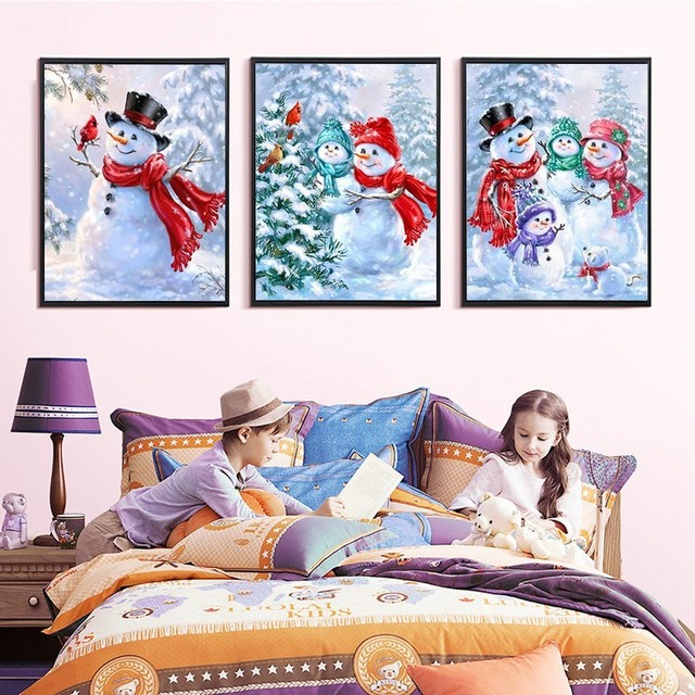 HUACAN Diamond Mosaic Snowman DIY Diamond Painting Full Square Drill Cartoon Christmas Cards Santa Claus Picture