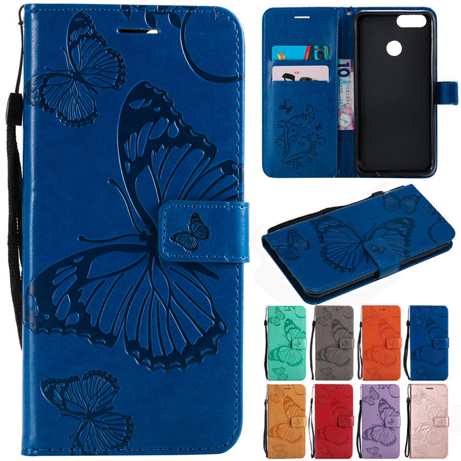 Y9 Butterfly Case On For Fundas Huawei Y9 Leather Case For Huawei Enjoy 8 Plus Wallet Flip Magnetic Phone Case