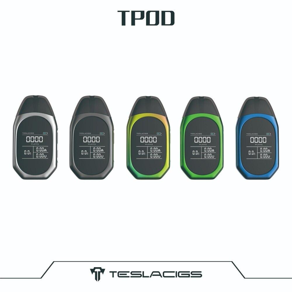 Teslacigs électronique grand public trousse à cigarettes Tesla TPOD Kit 500 mAh avec écran d'affichage et cartouches à dosettes rechargeables 2 ml