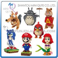 Mini Qute BALODY Huge Cartoon Game Anime Red Bird Super Mario Mermaid Building Blocks Brick Action