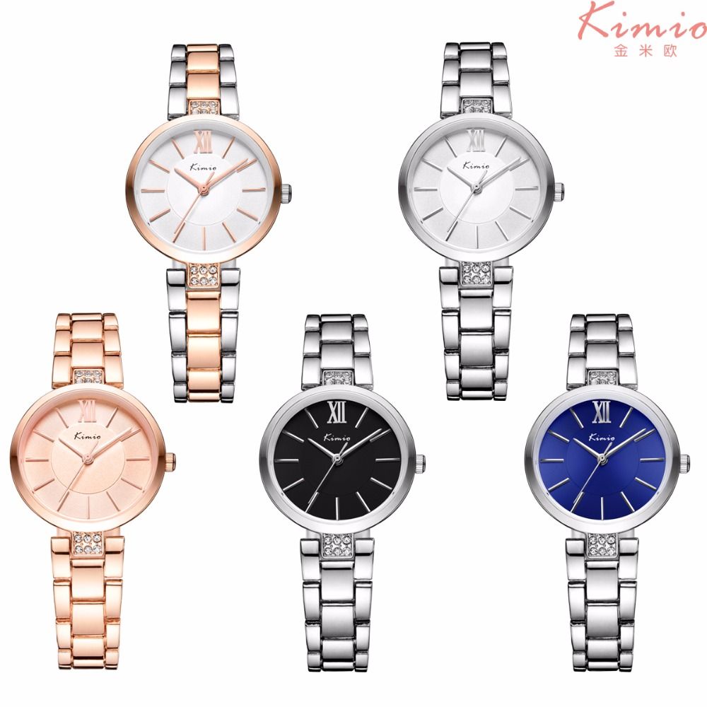 New Kimio Fashion Simple Watches Women Stainless steel Rose Gold Ultra-thin Ladies Quartz Watch Montre Femme Hour Clock Women 2016 new luxury brand kimio watch women gold stainless steel fashion casual ladies bracelet quartz watch montre femme clock