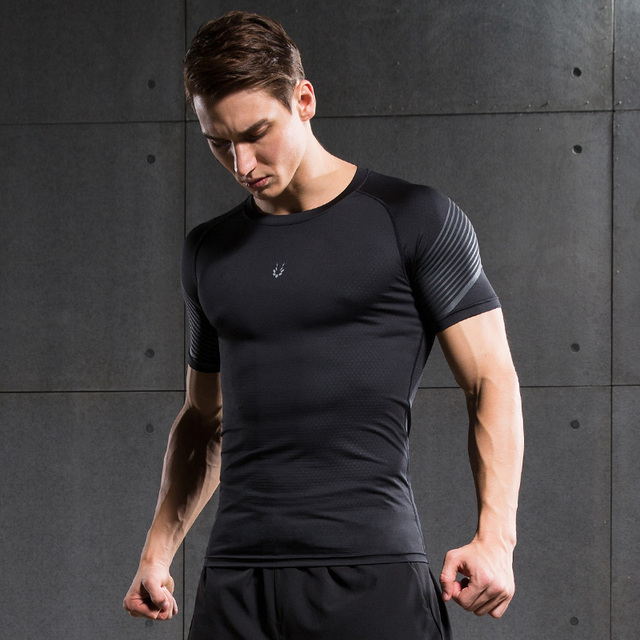 e249947869 Men's Fitness Compression Shirt running Bodybuilding short Sleeve T Shirt  Crossfit Tops Shirts