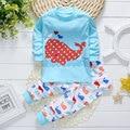 2017 primavera otoño niño infantil del bebé marca de ropa de algodón peces traje trajes de bebé ropa de los muchachos trajes de juego de los deportes 2 unids conjuntos