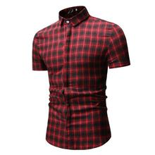 Check Lattice Design Mens Clothing Slim fit Men Shirt Plaid Mens Dress Shirts Blouse Men Summer White black
