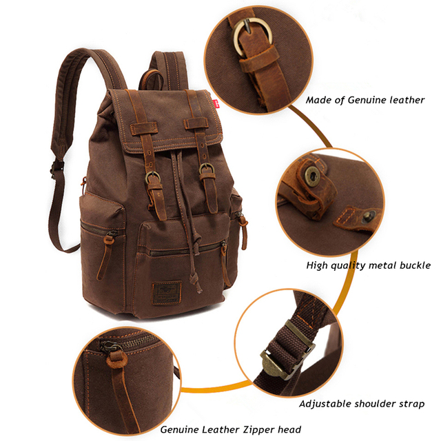 Men's Travel Backpack Vintage Canvas Large Capacity