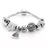 Zeper New Fashion Top Quality Crystal Bead Bracelets Bangles With White Rhinestone Key Lock For Love