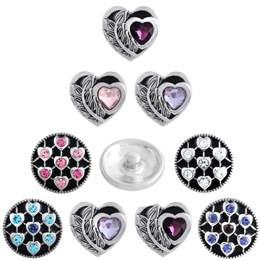 2018 New Valentines Day sweet cute heart Snap Button For Women Fit DIY 18mm Snap Jewelry Elastic Snaps Buttons Bracelet Jewelry