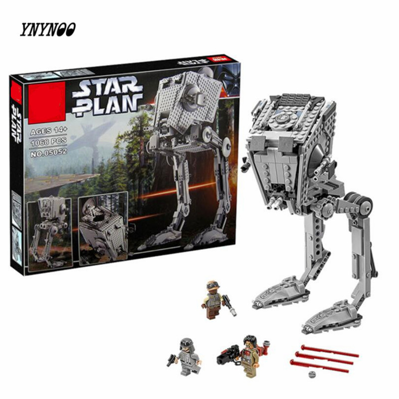 YNYNOO 2017 New Lepin 05052 Star War Series 1068pcs Out of print empire AT ST Building Blocks Bricks Model Toys Boys Gifts 75153 ynynoo lepin 02043 stucke city series airport terminal modell bausteine set ziegel spielzeug fur kinder geschenk junge spielzeug