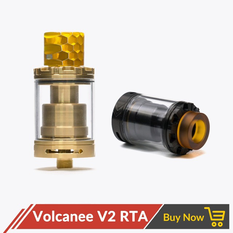 Volcanee V2 RTA Single & Dual Coil Tank Atomizer 24mm 3ml Top Fill System For 510 Thread Vape E Cig Vs Doggy Style Reload RTA