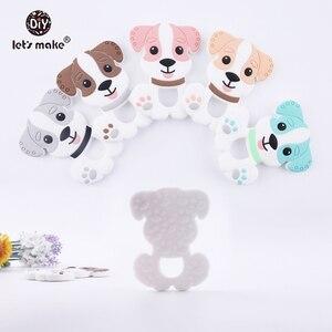 Детский Прорезыватель для зубов Lets Make, 1 шт., с героями мультфильмов и собаками, милые игрушки коричневого цвета, без БФА, для самостоятельно...