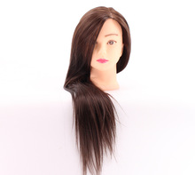 цены 55cm Mannequin Head Synthetic Fiber Hair Hair Hairdresser Training Head Manikin Cosmetology Doll Head